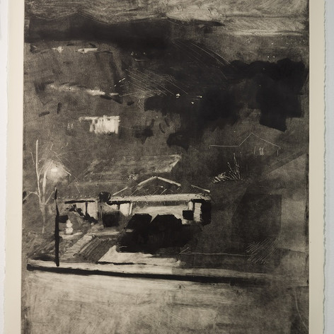 Nathan Zeidman, House at Night, 2014, unique monoprint, 1/1, Etching ink on Rives BFK