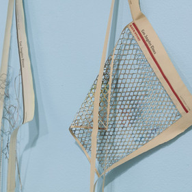 Marisa Mandler, Gates and Barriers, 2019, The Los Angeles Times Newspaper and pins, Dimensions variable - detail