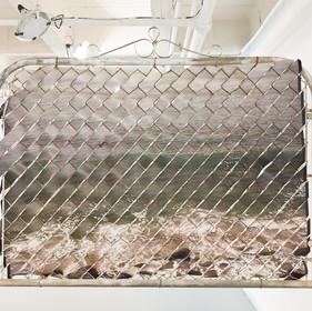 Glen Wilson, Elements XIII, 2013, 45x57, Mixed Media: Aluminum, Chain Link, Printed UV Polystyrene - back side