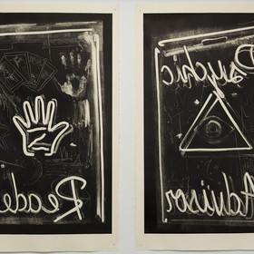 Left - Nathan Zeidman, Reader, 2014, unique monoprint, 1/1, Etching ink on Rives BFK. Right - Nathan Zeidman, Psychic+Advisor, 2014, unique monoprint, 1/1, Etching ink on Rives BFK