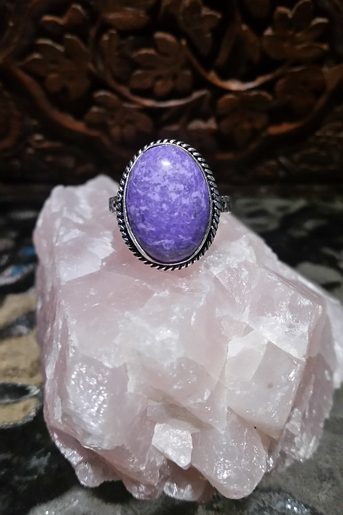 Oval Charoite Ring - US size 9 ½