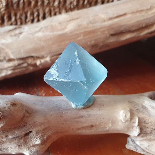 Bright Blue Fluorite Octahedron