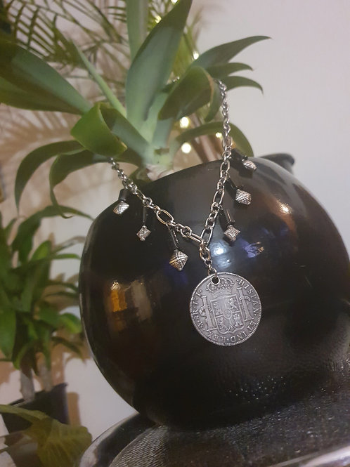Genuine Piece-of-Eight Statement Necklace - 8 Reales (over 200 years old)
