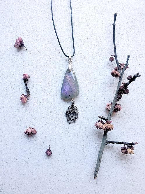 Purple Labradorite Charm Based Necklace