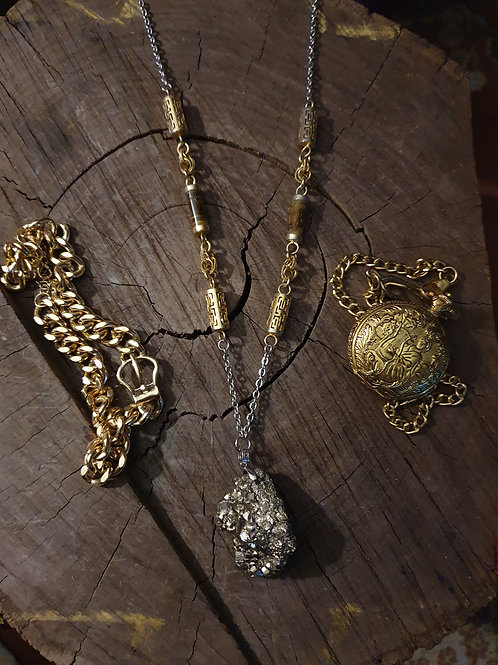 Pyrite X Tigers Eye Statement Necklace III