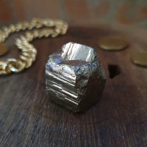 Natural Pyrite Cube IV ~ Partial Twin Formation