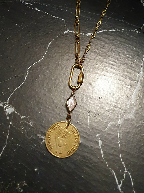 Gold Heads or Tails Statement Necklace VI