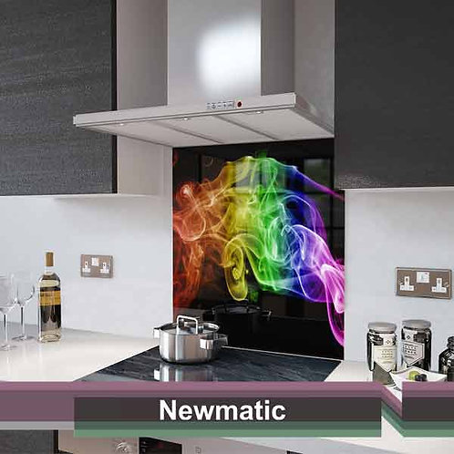 Rainbow  Smoke on Black Splashback