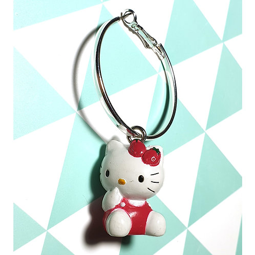 Boucle d'oreille Solo Hello Kitty Rouge