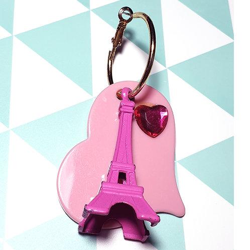Boucle d'oreille Solo Tour Eiffel Rose