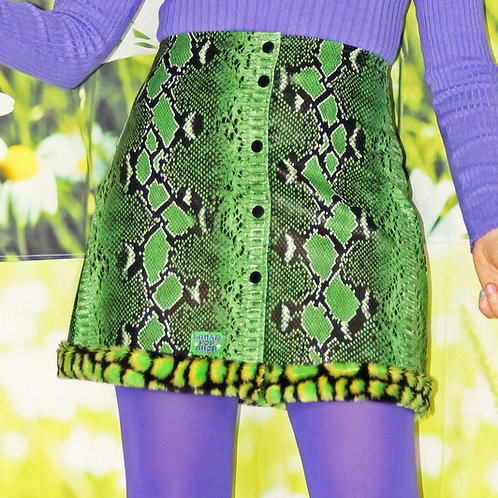 Mini-jupe Vinyle Serpent Vert