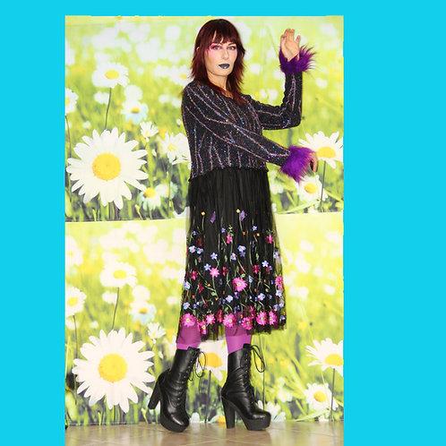 Robe Pull Lurex et Tulle Fleuri