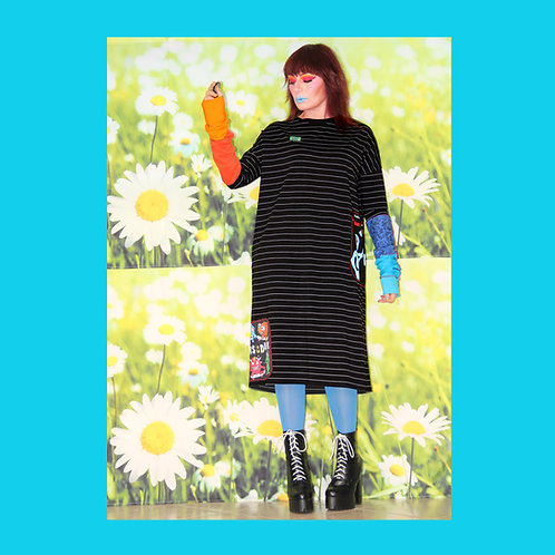 Robe Noire Longues Manches Color Block