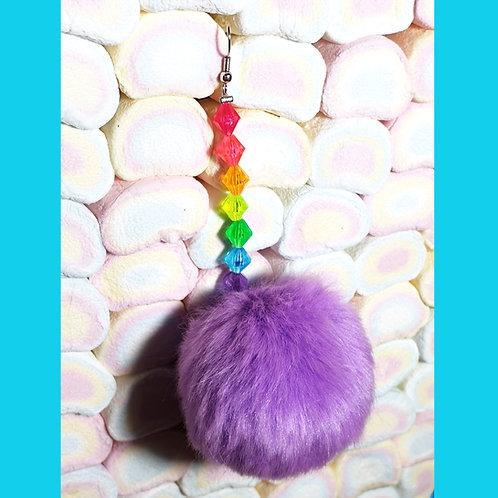 Boucles d'oreille Pompon Violet