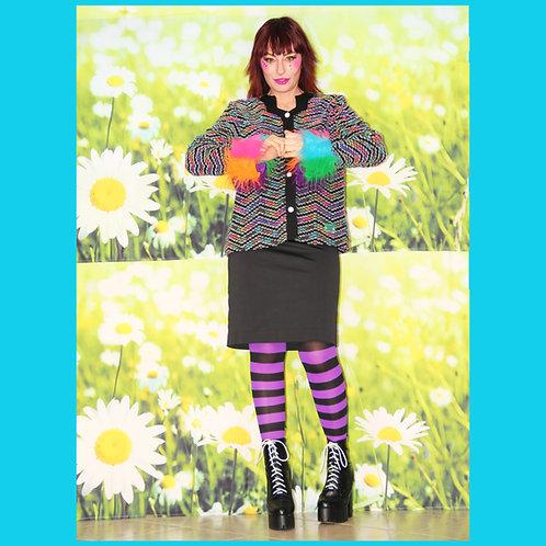 Veste en tweed arc-en-ciel