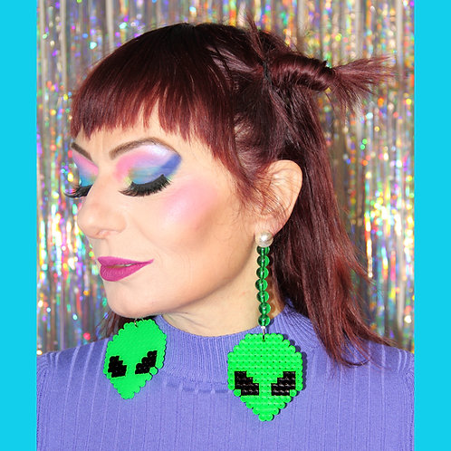 Boucles d'oreille licorne Alien Vert