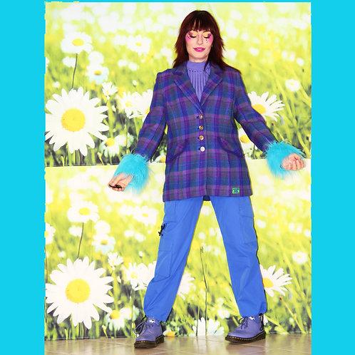 Blazer en tweed bleu et violet