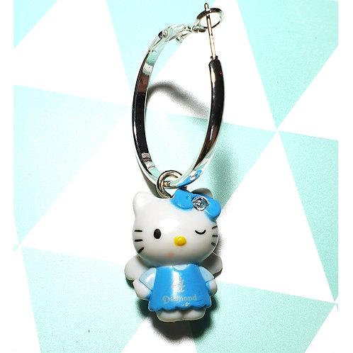 Boucle d'oreille Hello Kitty Bleue