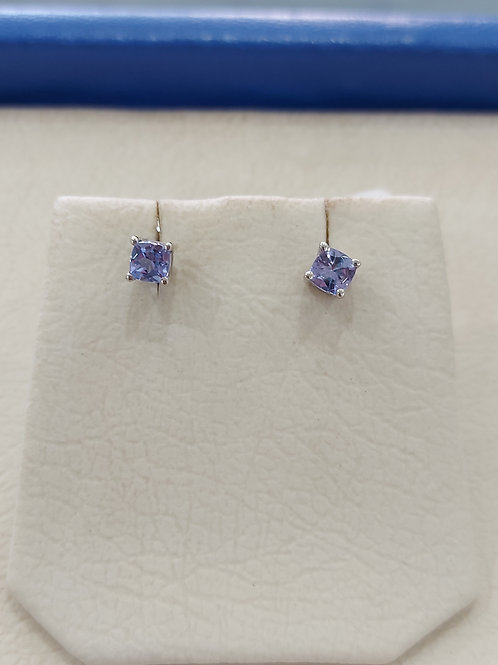 Silver earrings with tanzanite stones