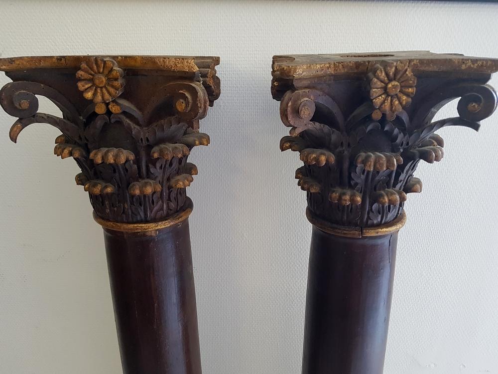 Paire de colonnes en bois XVIIIe