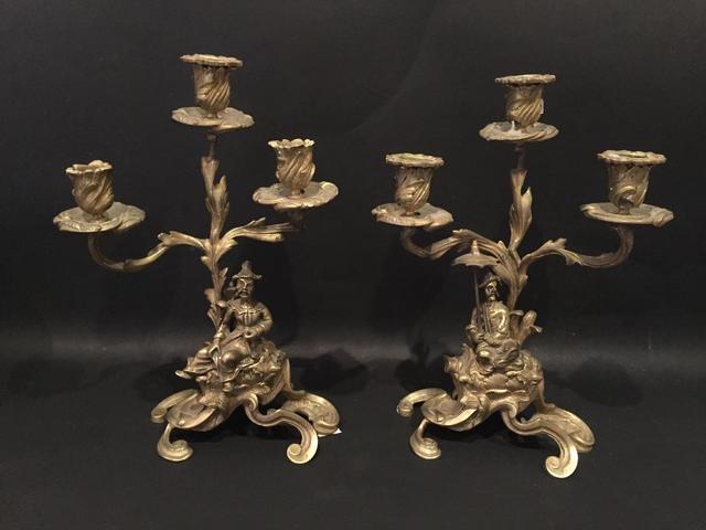 Paire de candélabres en bronze