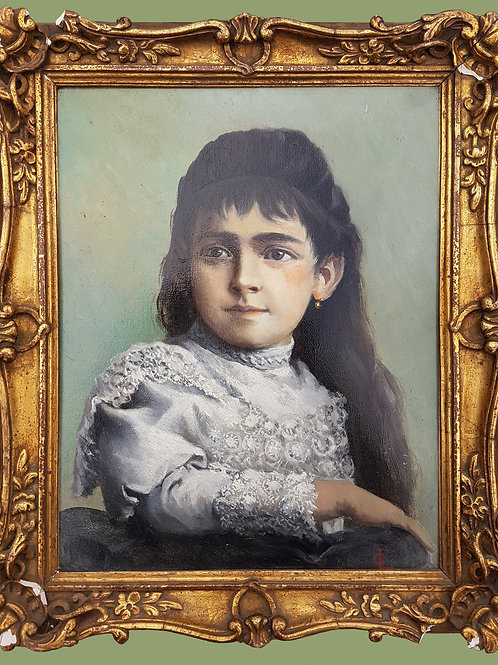 Portrait de jeune fille monogrammé LC