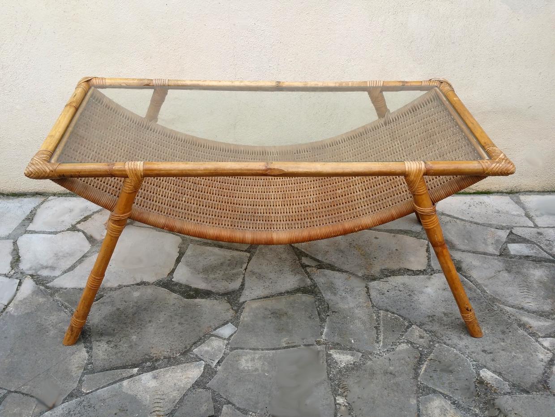 Table basse en rotin et bambou