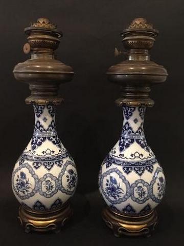 Paire de lampe à pétrole fin du XIXe