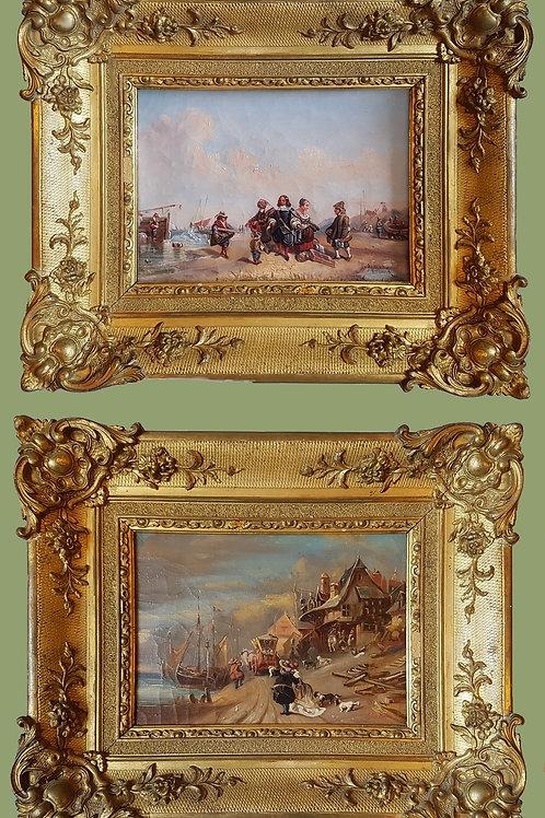 Paire de tableaux XIXe