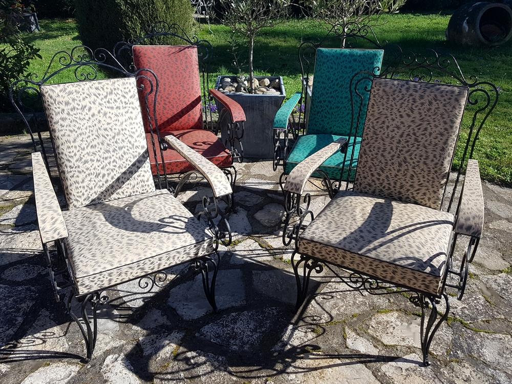 4 fauteuils fer forgé des années 50