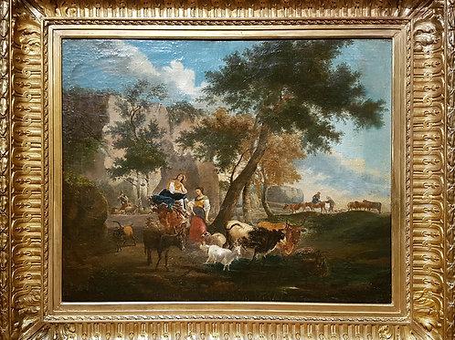 Scène pastorale fin XVIIIe