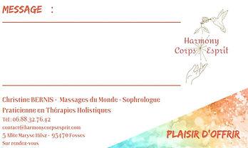 Massages : Carte cadeau parrainage - Bénéficiez de 10% sur votre prochain massage #Massagesbienetre #Bienetre #Détente #Offrir #Massagerelaxant #Massageayurvédique #Massagechinois #Massageduo #Massage4mains #Massagedos #Massagepieds #Valdoise #Fosses95 #Harmonycorpsesprit #Christinebernis