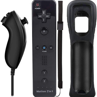 Wii Remote Nunchuck Controller with Case and Wrist Strap