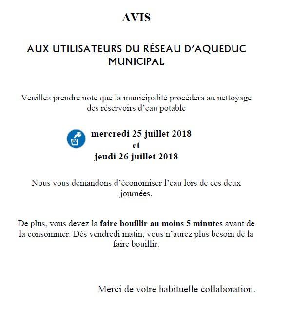 Avis-Utilisateurs du réseau d'aqueduc municipal
