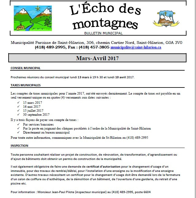 Bulletin municipal Mars-Avril 2017