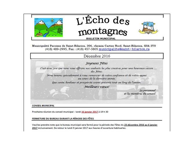 Bulletin municipal Décembre