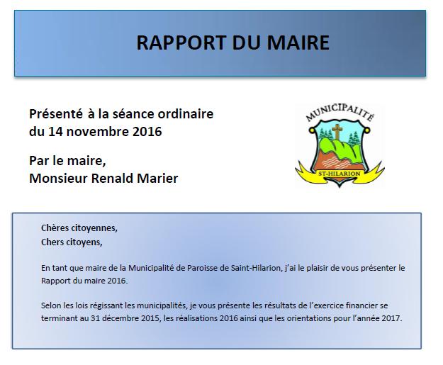 Rapport du maire 2016