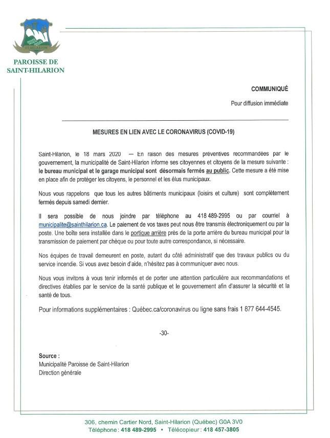 Communiqué-Coronavirus (COVID-19)
