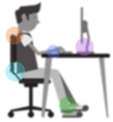 ergonomics, posture seating, neck strain, wrist pressure, back tension, foot positioning