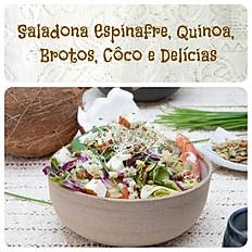 Saladona Espinafre Quinoa Brotos Côco e deícias