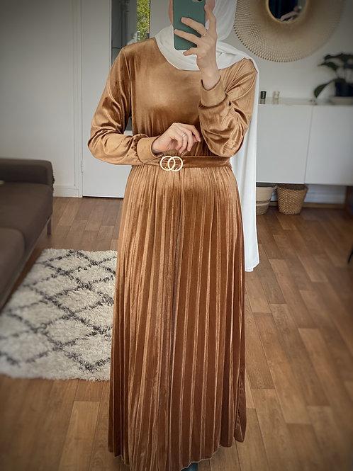 Robe en velours Caramel