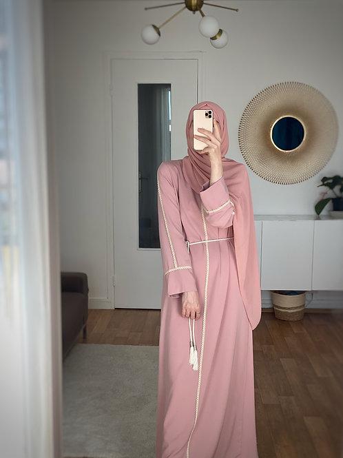Abaya robe rose pastel