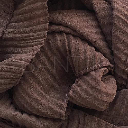 Châle mousseline plissé MARRON