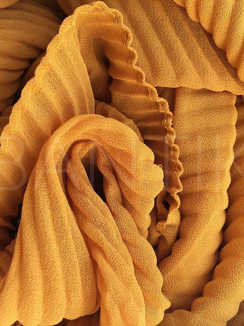Châle mousseline plissé MOUTARDE