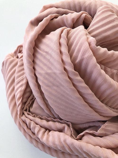 Châle mousseline plissé ROSE POUDRE