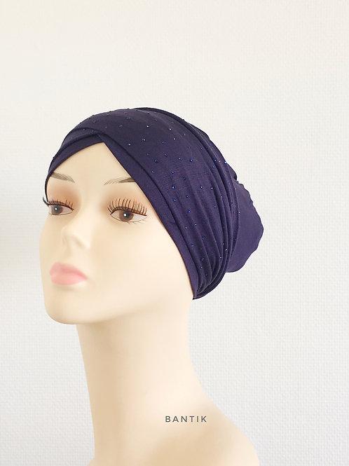 BLEU FONCÉ Turban Bonnet