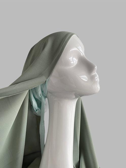Hijab à enfiler vert de gris