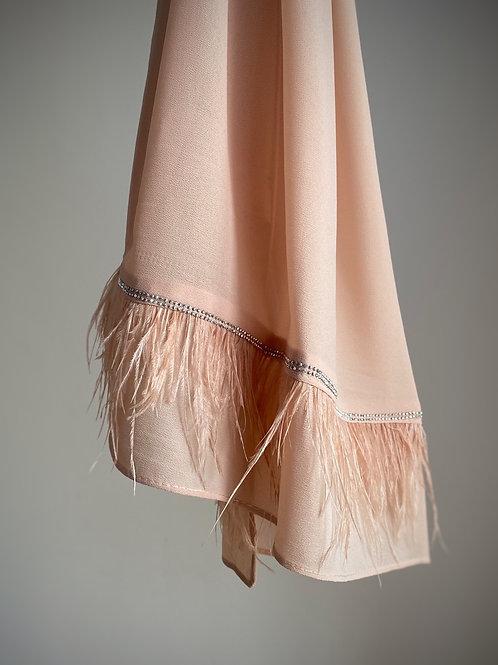 Châle mousseline avec plumes BEIGE ROSE