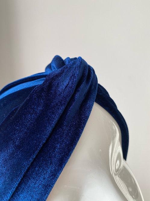Turban velours bleu