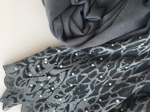 Hijab jersey dentelle en strass GRIS